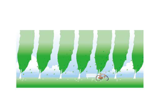 自行车 卡通 春天
