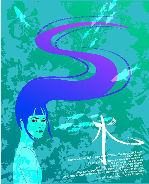 女人与花图片 前卫设计图 水 Water 发丝