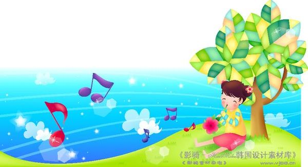 卡通 音符/卡通儿童主题插画图片/人物图 音符 符号吹奏