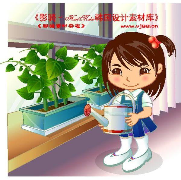 盆栽 浇花 喷壶 学生学习-人物-人物,学生学习图片