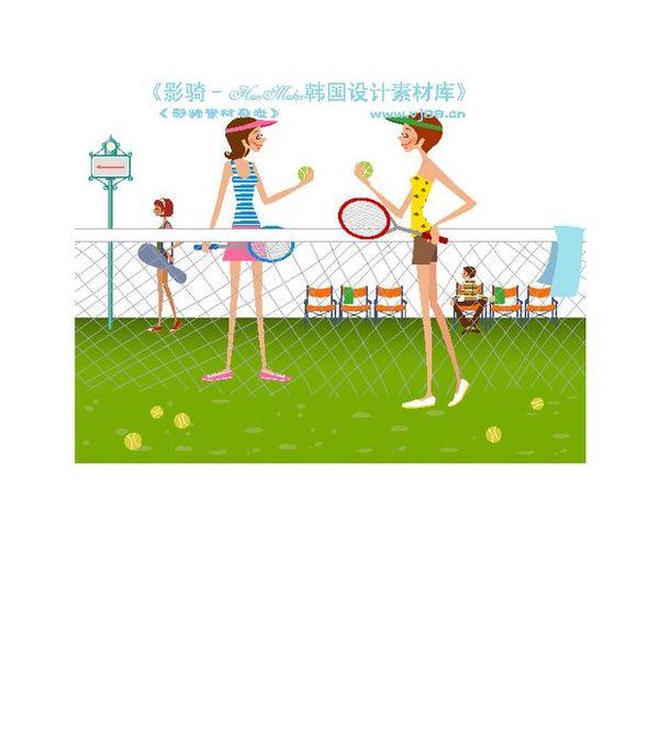 时尚人物简笔图片 人物图 网球场 打网球的女孩