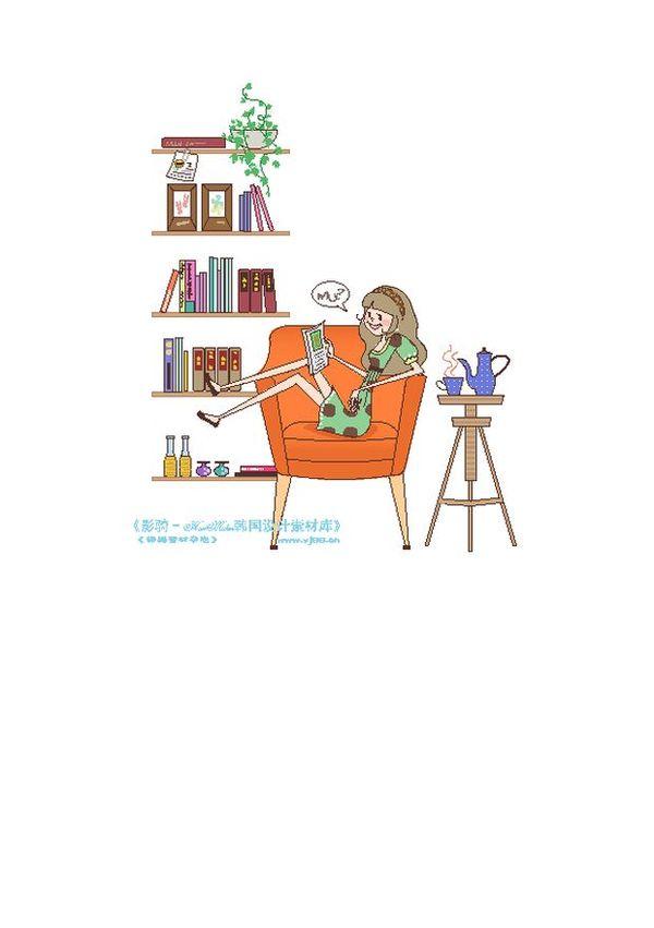 时尚 简笔 插画图片 人物图 横坐 椅子 喝茶 ,人物高清图片