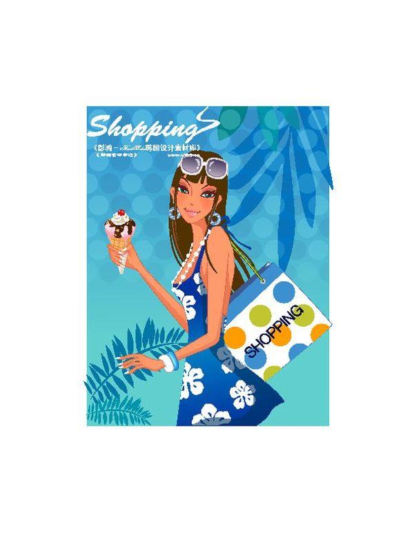 图片购物内裤人物-裙子图夏季购物蓝女生吃时尚女孩衣图片