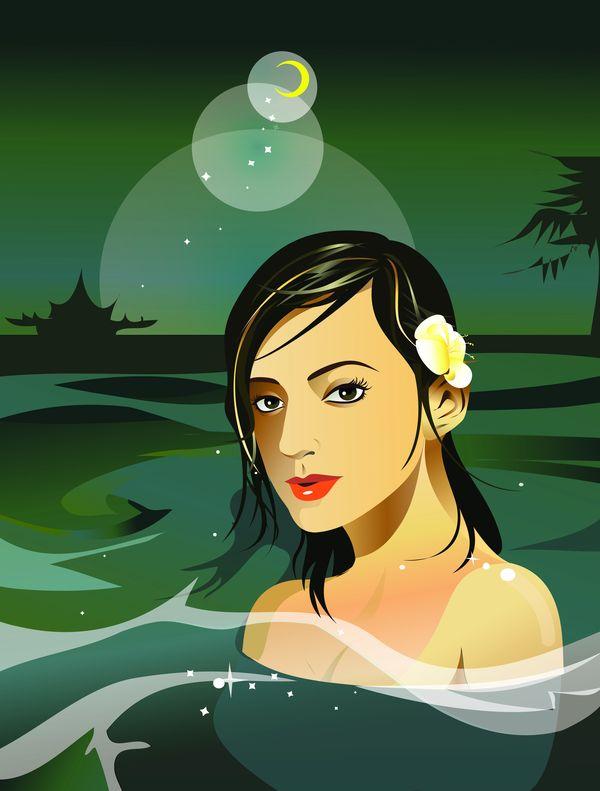 SPA插图图片 休闲保健图 美女 洗浴 浴池