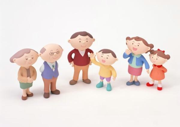 卡通 家人 三代人 温馨家庭-人物-人物,温馨家庭