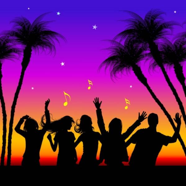 女人与花图片 美容化妆图 夜色 跳舞 音符