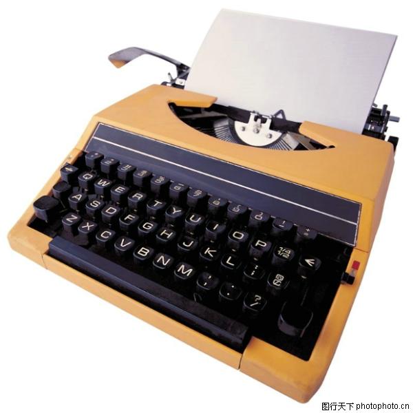 旧款打字机 办公用品图片 人物图