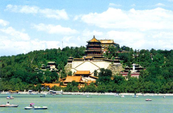 从昆明湖望万寿山 泛舟 浪漫 游玩,明陵幽景图片